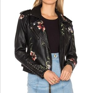 BLANK NYC Vegan Leather Embroidered Jacket